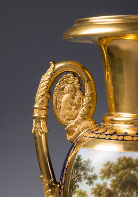 A pair of Restauration two-handled vases probably by Nast Frères Manufactory