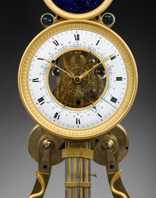 A large Directoire/Empire skeleton clock of month duration, dials attributed to either Joseph Coteau or Etienne Gobin, known as Dubuisson