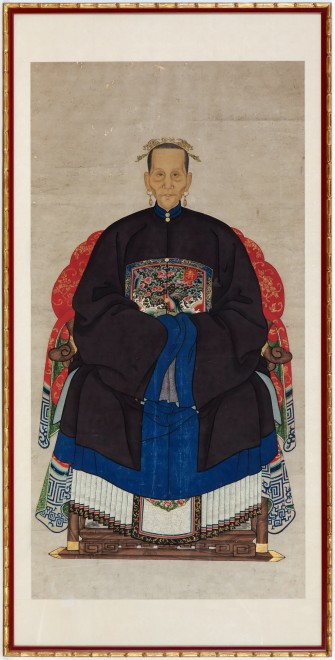 A pair of Chinese late Qing dynasty ancestor portraits showing a senior official of the third rank and his wife