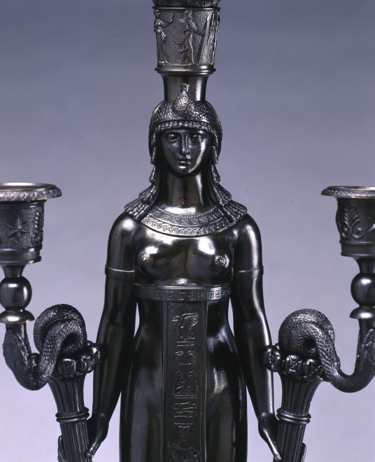 A pair of Empire six-light candelabra attributed to Pierre-Philippe Thomire, after a design by Charles Percier