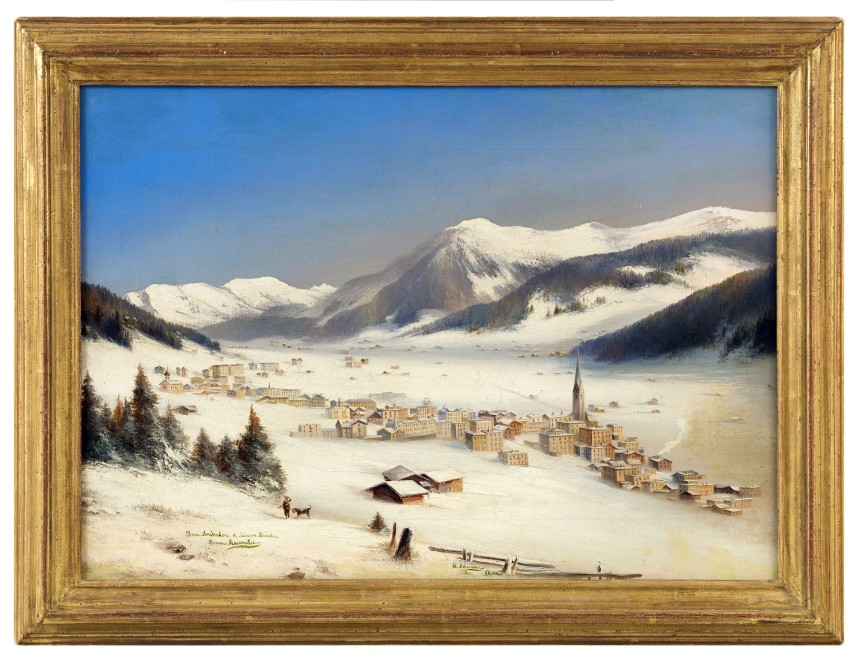 A pair of paintings %22Davos in the Snow%22, by G. Schmocker