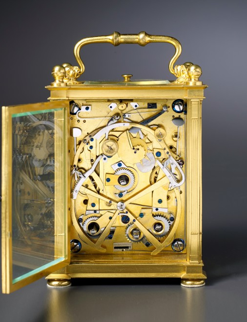 A  Restauration grande sonnerie striking carriage clock with push repeat, calendar and equation of eight day duration by Antoine Blondeau