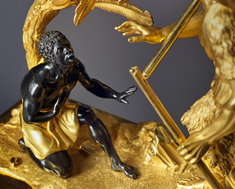 An Empire clock depicting Robinson Crusoe and Friday, attributed to Claude Galle