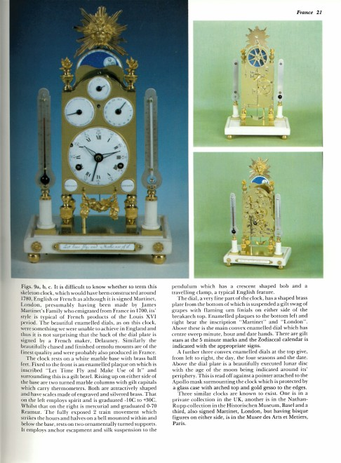 A George III astronomical miniature striking skeleton clock, by Martinet