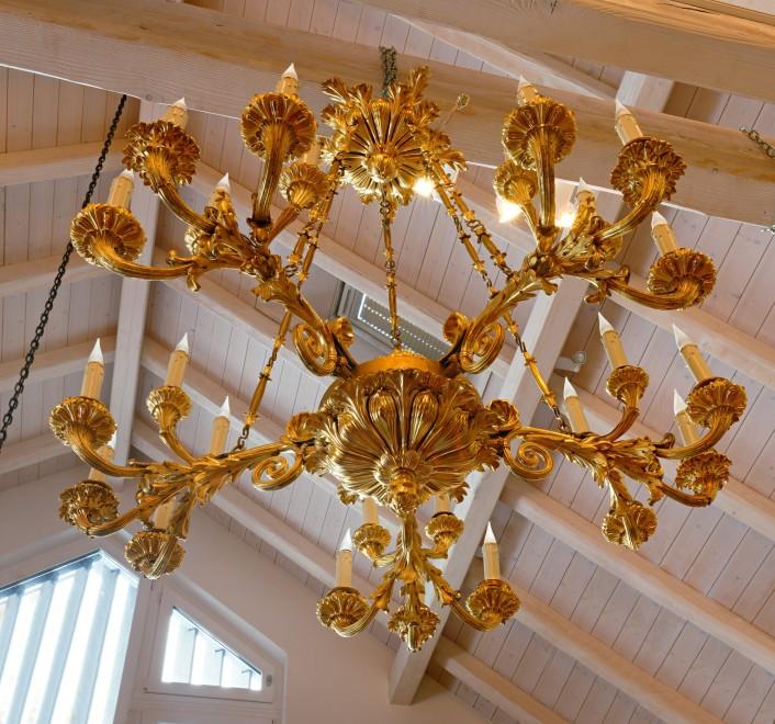 A Russian early nineteenth century gilt bronze twenty-five light chandelier