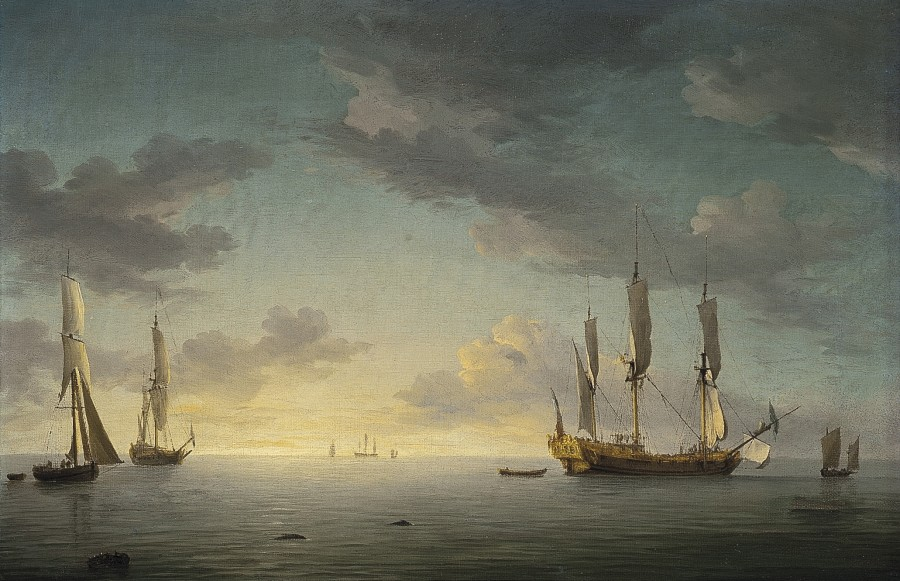 Sunset: the ship rigged royal yacht Royal Caroline in a light air with other shipping beyond