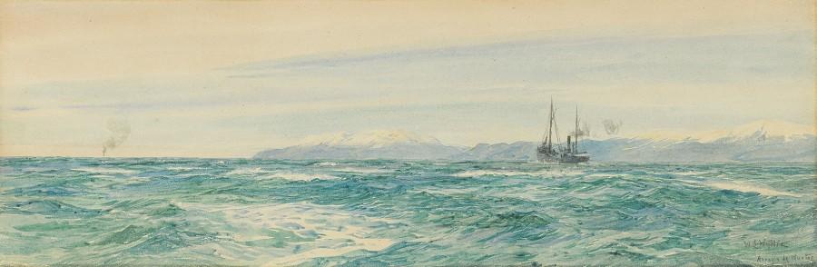 William Lionel Wyllie, RA, A ship steaming down the coast of Ancla Caja de Muertos, Puerto Rico
