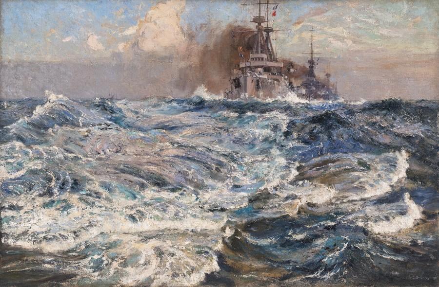 Arthur James Wetherall Burgess, RI, ROI, RBC, RSMA, 'The Wash of the Next Ahead' 1912
