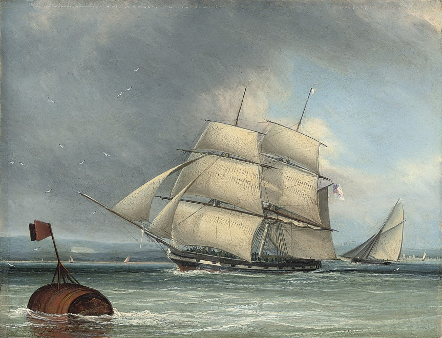 John Lynn, A merchantman running down the Solent, a yacht behind