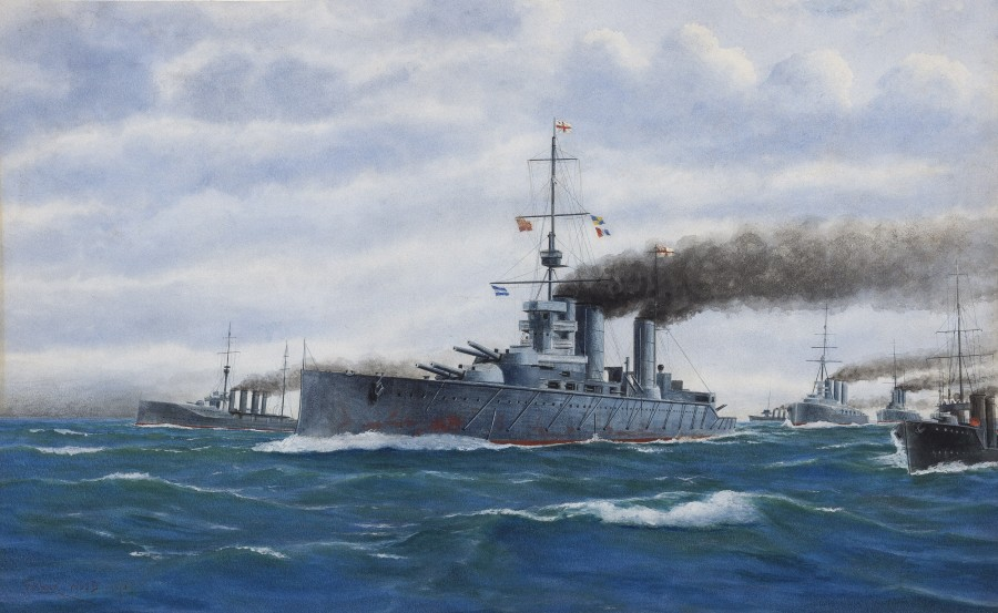 Frank Watson Wood, Battlecruisers steaming in line ahead, between their escorting cruisers and destroyers