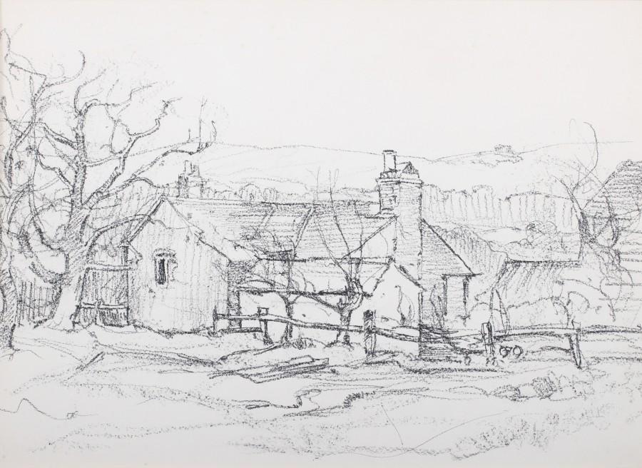 Claude Muncaster, PRSMA, RWS, ROI, RBA, Cottages near Byworth, Sussex
