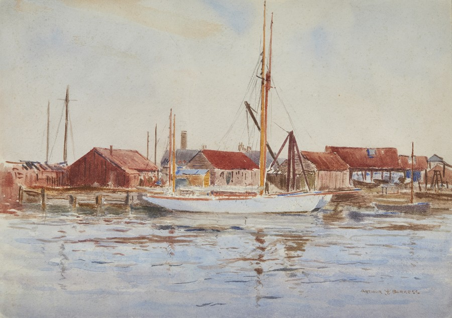 Arthur James Wetherall Burgess, RI, ROI, RBC, RSMA, Yachts at Poole Harbour
