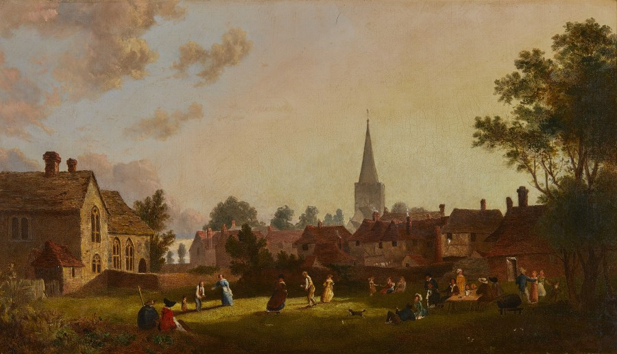 Edward Martin, A game of Stoolball at West Tarring, Sussex