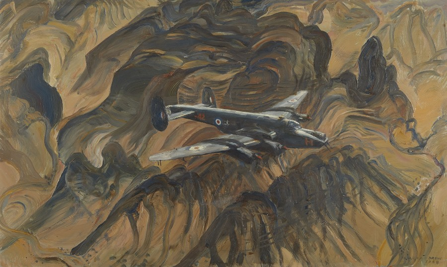 Pamela Drew, An Avro Shackleton Bomber in flight over Aden