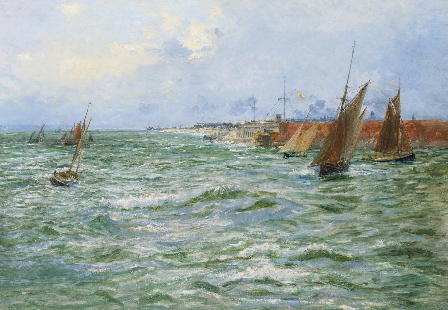 William Lionel Wyllie, RA, A stiff breeze at the entrace to Portsmouth Harbour, off Fort Blockhouse, Gosport