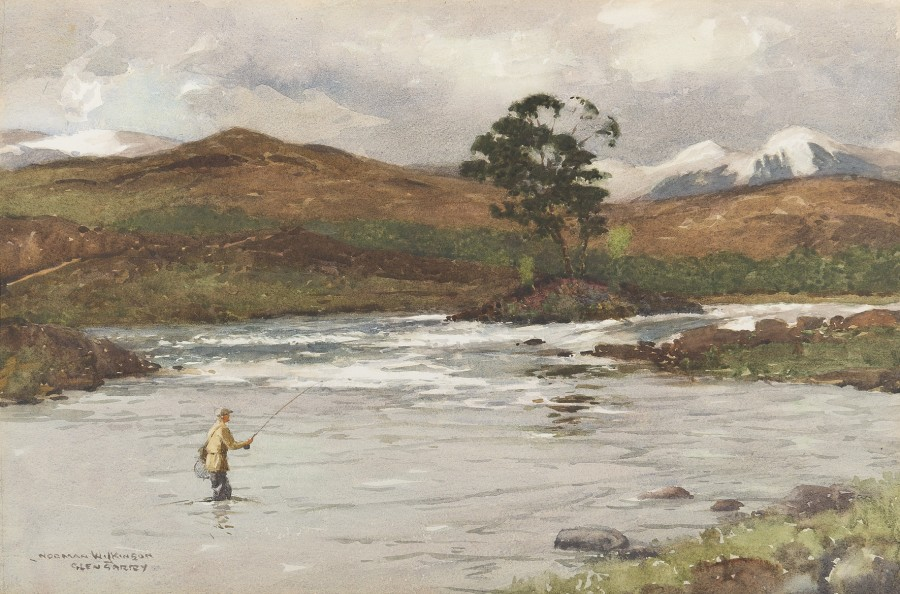 Norman Wilkinson, CBE, SMA, PRWS, RI, Glengarry, snow-capped hills beyond