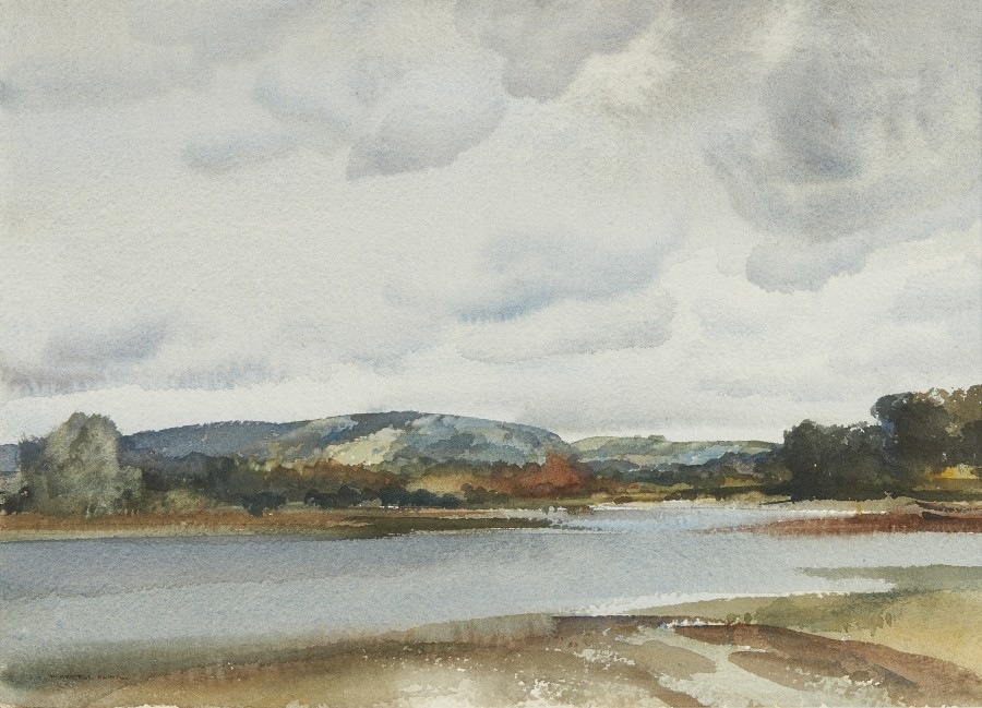 Sir William Russell Flint, RA, PRWS, The South Downs from Chichester Channel