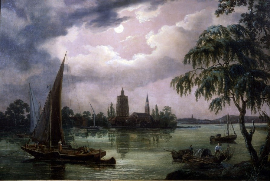 John Thomas Serres, A Moonlit View of the Thames from Chelsea