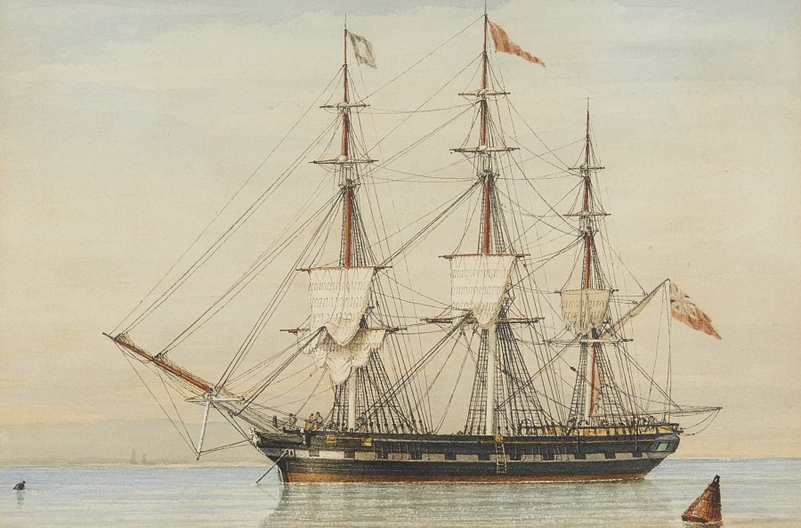 John Ward of Hull, The merchantman Herculaneum anchored offshore