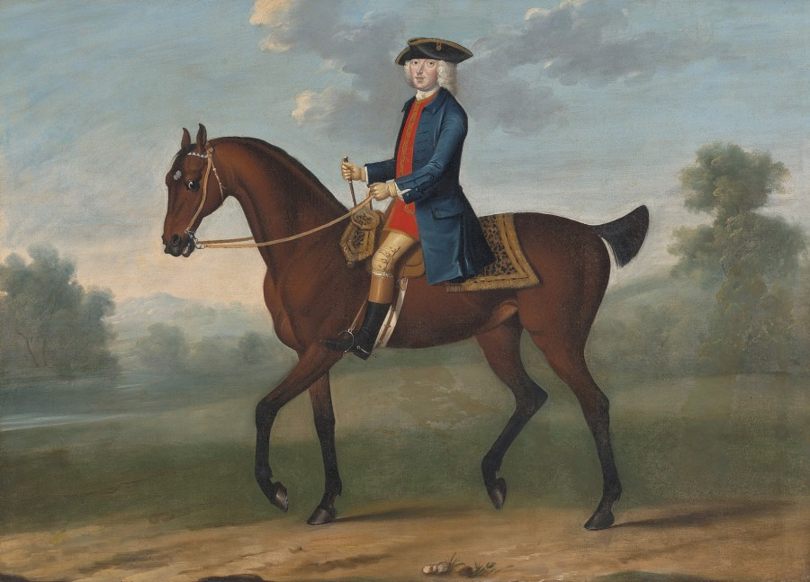 Attributed to Thomas Spencer, Equestrian portrait of William, 2nd Duke of Portland (1708−1762) in a landscape