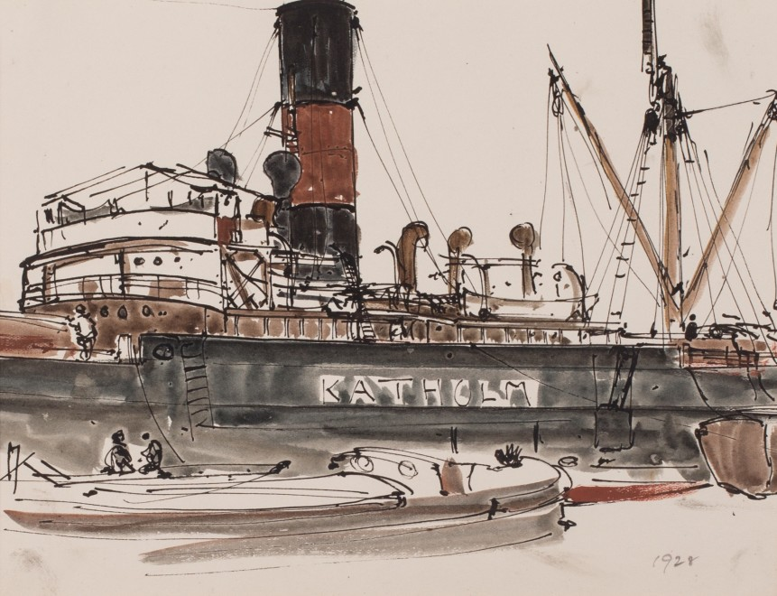 Claude Muncaster, PRSMA, RWS, ROI, RBA, Study of ship Katholm in dock