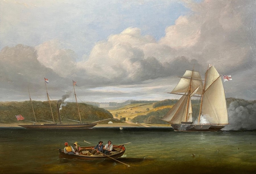 John Lynn, The Royal Yacht visiting Osborne House, Isle of Wight soon after Queen Victoria purchased the property