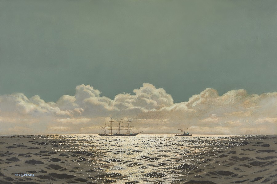 Charles Pears, PSMA, ROI, Reflections on the sea, ship under tow