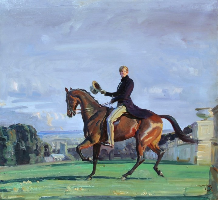 Sir Alfred James Munnings, PRA, RWS, Portrait of Robert 'Bobby' Gould Shaw III on horseback in the grounds of Cliveden