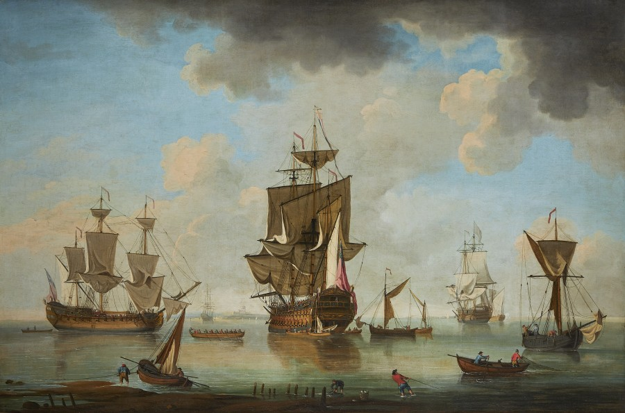 Charles Brooking, A Royal Navy Squadron anchored off St Helen's, Isle of Wight, with Southsea Castle in the distance