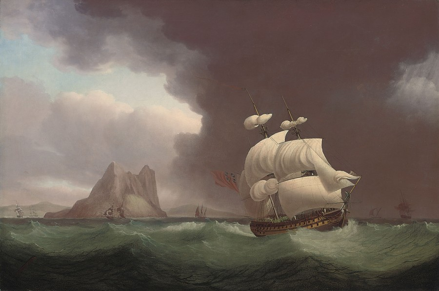 Thomas Whitcombe, A `74' running into stormy weather off Gibraltar