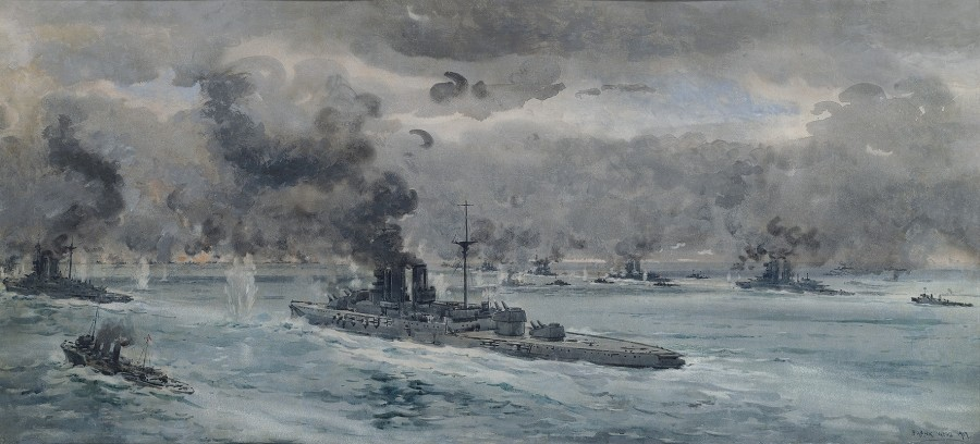 Frank Watson Wood, The Battle of Jutland; the height of the action in the early evening of 31st May, 1916