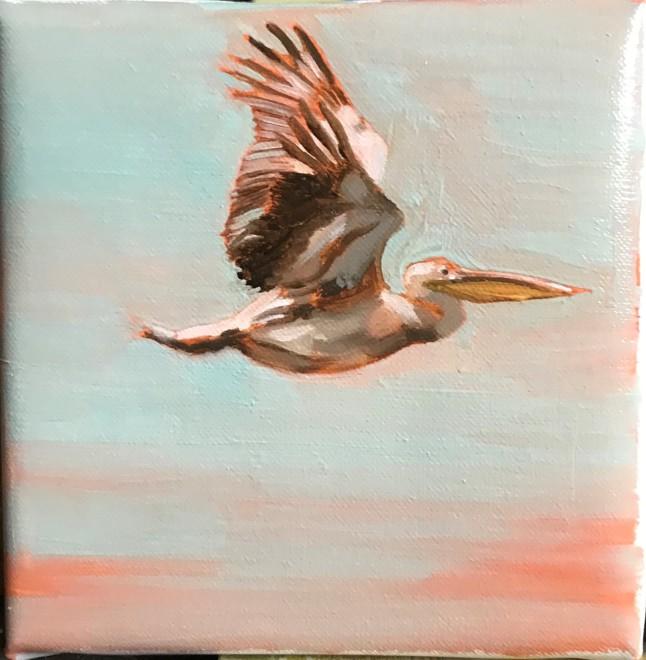 Francesca Sanders, Pelican in flight I, Mahale, Lake Tanganyika