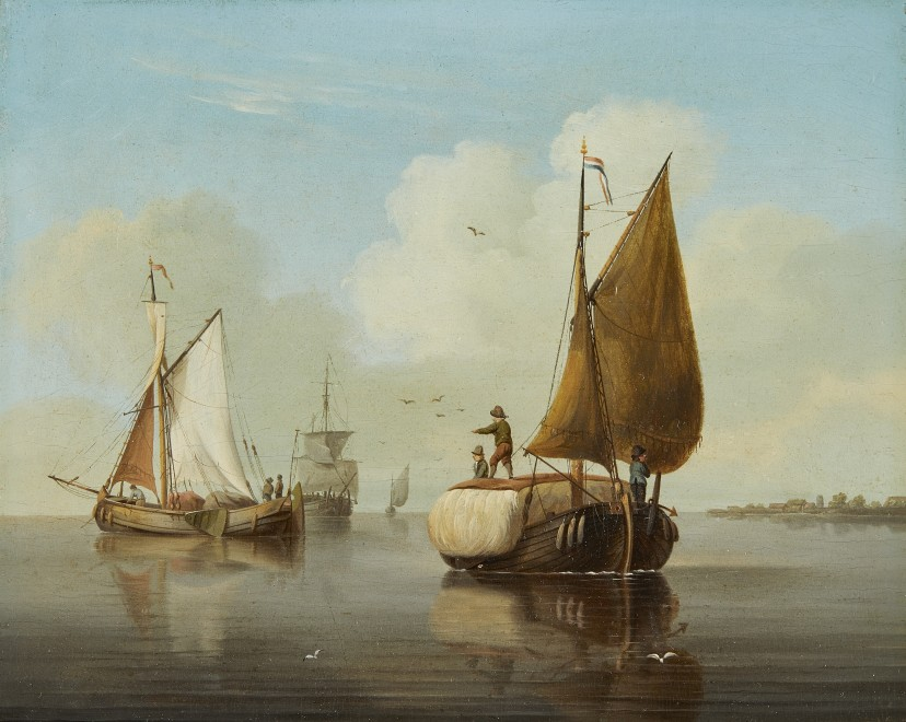 Coastal craft in a calm, a pair