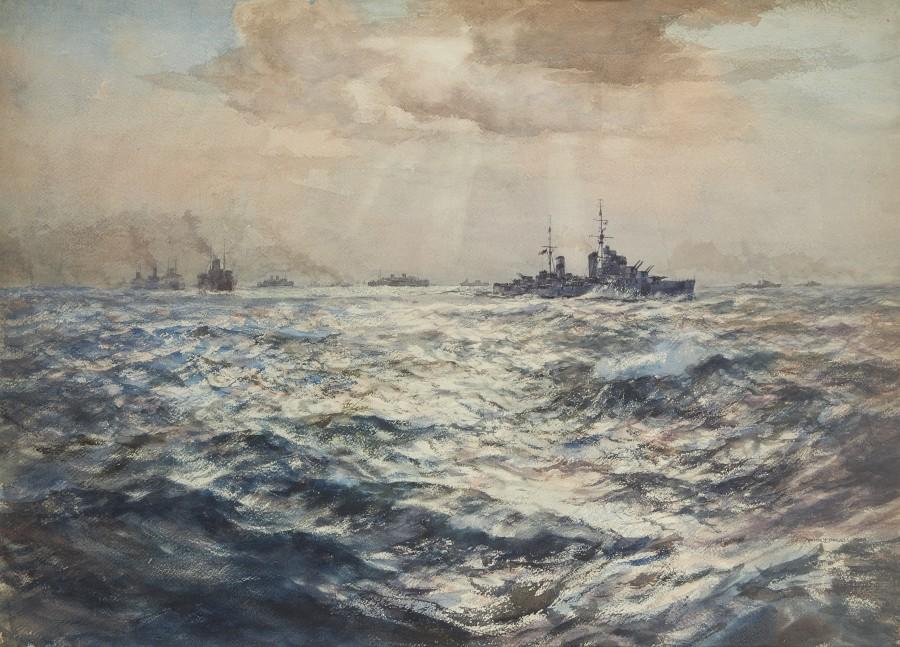 Arthur James Wetherall Burgess, RI, ROI, RBC, RSMA, A convoy escorted by a cruiser