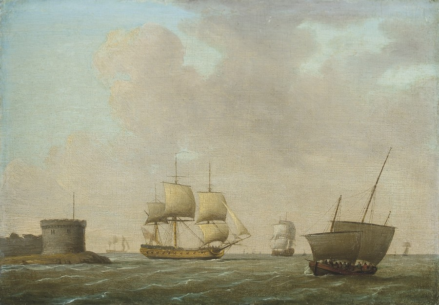 Dominic Serres, A frigate passing a crowded revenue lugger, in congested waters off Portsmouth harbour
