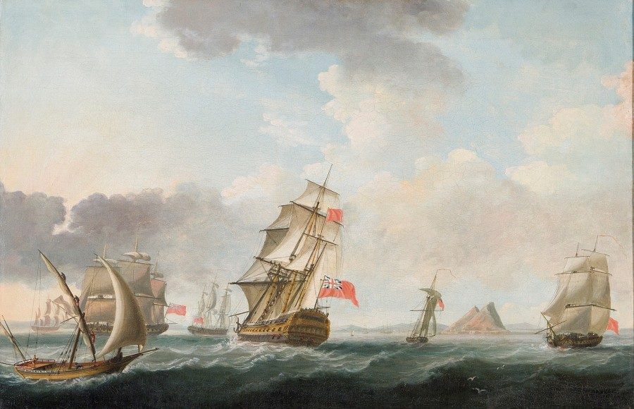 John Thomas Serres, A Squadron of the Red maneuvering off Gibraltar, the flagship's mizzen ensign indicating that she has a Rear-Admiral (of the Red) aboard, with a native felucca passing by and a detailed view of the Rock beyond