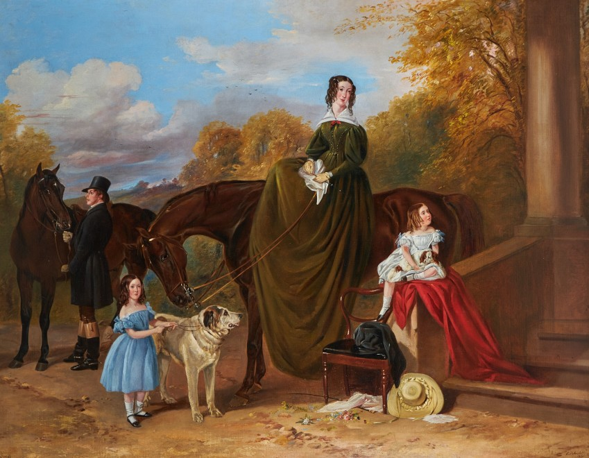 Richard Ansdell, RA, Lady Caroline Harriet Towneley with her daughters Caroline and Emily outside Croxteth Hall