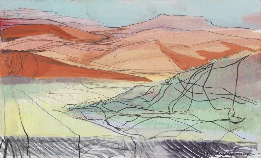 Emily Lamb, Sossusvlei into dusk sketch