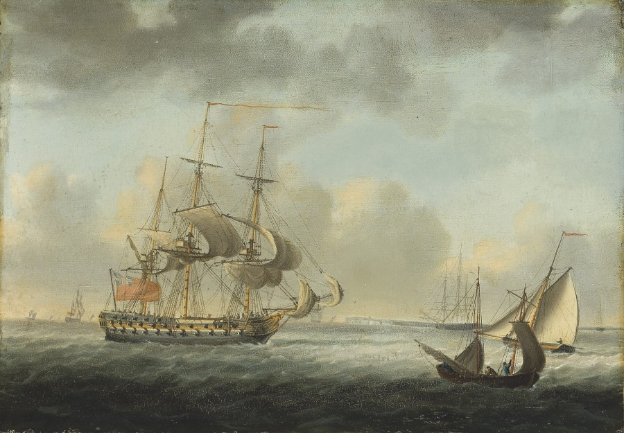 Nicholas Pocock, A Royal Navy Fourth-Rate off the south coast