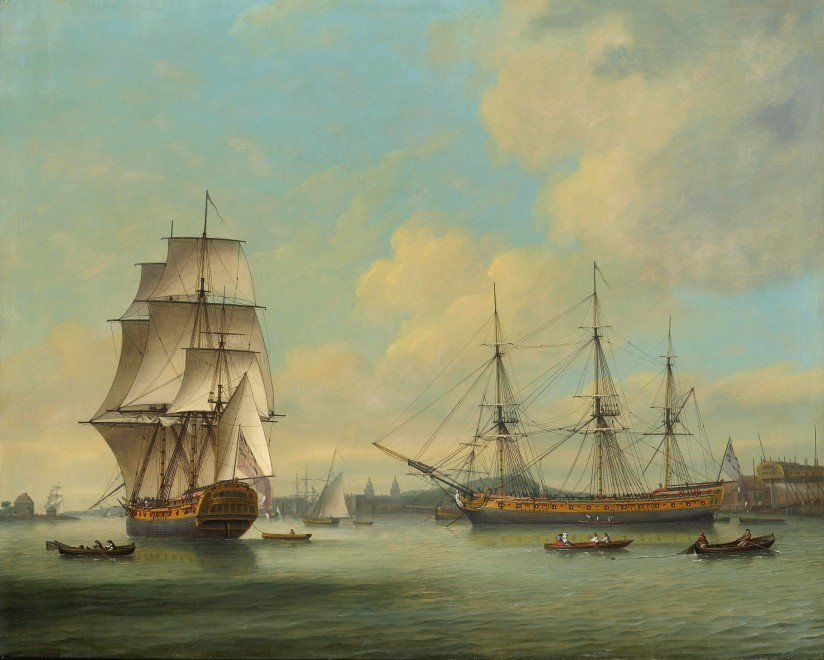 Thomas Luny, The East Indiaman Boddam, at Barnard's Yard, Deptford, with a view towards Greenwich