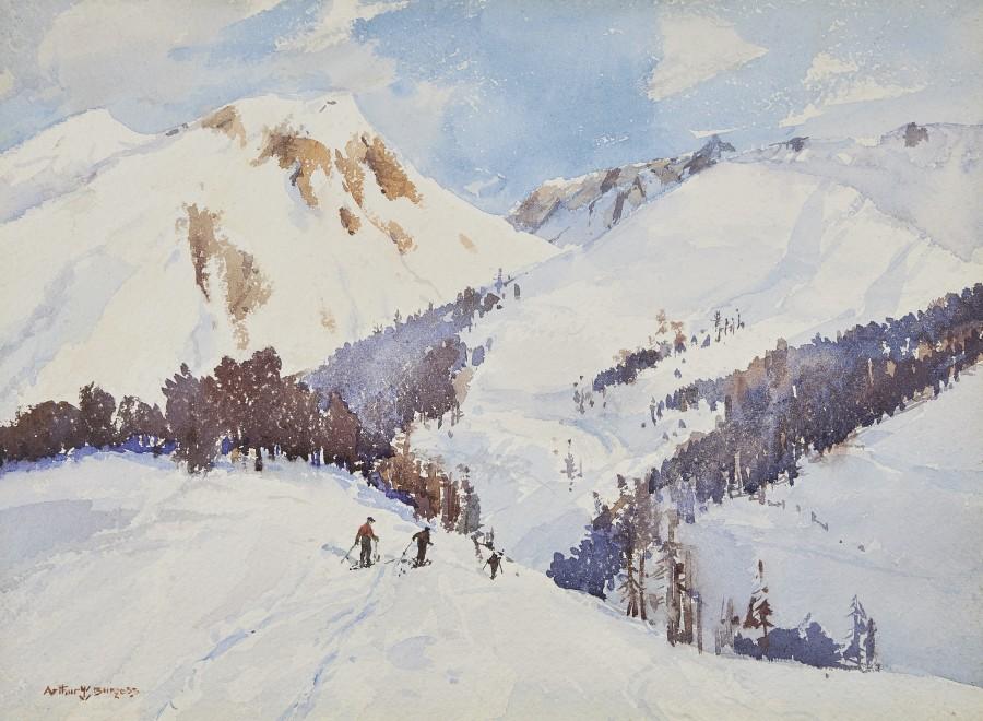 Arthur James Wetherall Burgess, RI, ROI, RBC, RSMA, Skiing, the crest of the hill