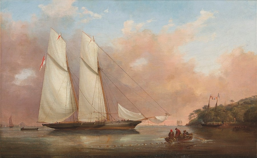 Nicholas Matthew Condy, A schooner in the Barn Pool off Mount Edgcumbe, Plymouth