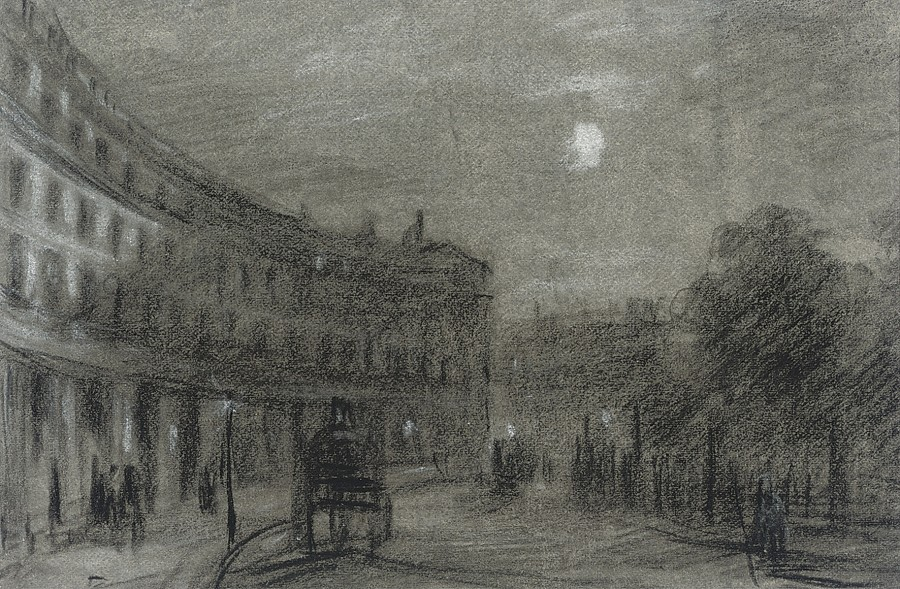 George James Rowe, A horse and cart on Park Crescent, London