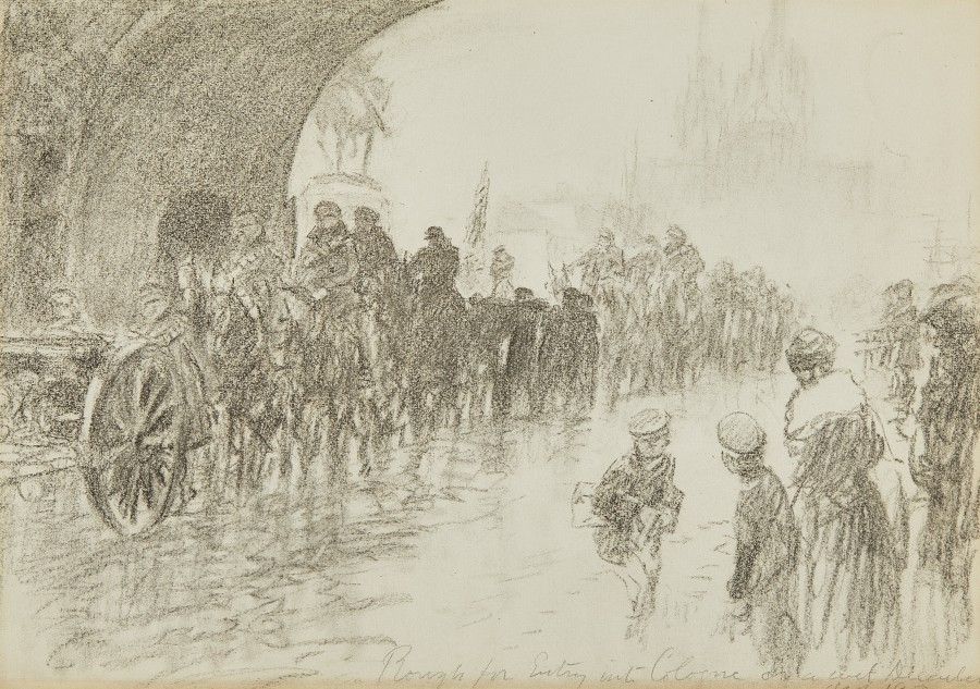 Gilbert Holiday, Sketch for the 29th Division crossing the Hohenzollern Bridge into Cologne, 1918