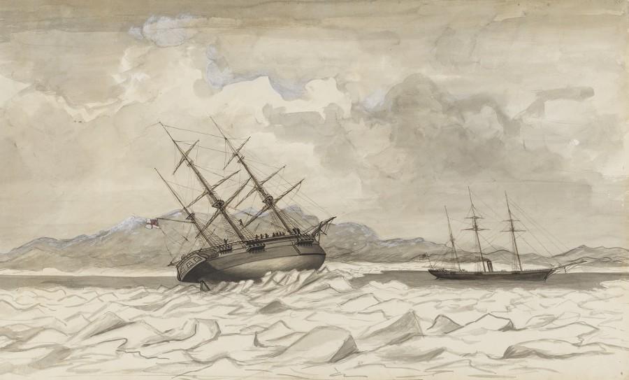 Edward Augustus Inglefield, HMS Breadalbane and HMS Phoenix caught in the ice off Beechey Island, 1853