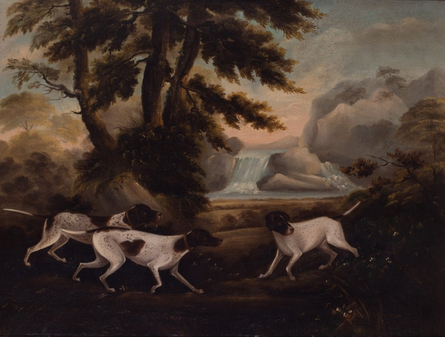 English School (18th century), Pointers by a waterfall