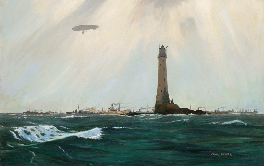 Charles Pears, PSMA, ROI, An escorted convoy in the Channel off Wolf Rock lighthouse, First World War