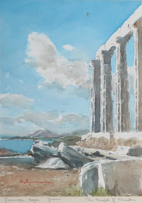 English School (19th century), Temple of Poseidon at Sounion Cape, Greece