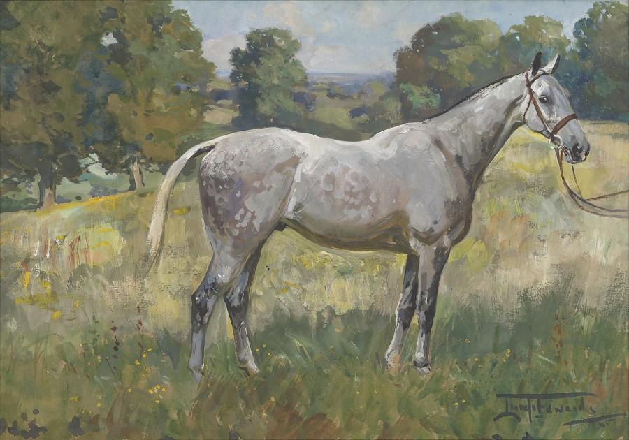 Lionel Dalhousie Robertson Edwards, RI, A dappled grey horse in a landscape