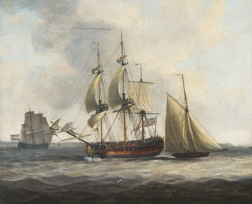 Dominic Serres, A British Frigate at sea flanked by a tender